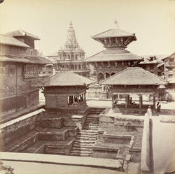 View from principal room in Palace at Patun. On the left, temple of Krishna on the right, temple of Mahadeo